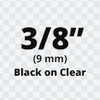 """3/8"""" black on clear d1 tape"""