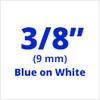 """3/8"""" blue on white D1 tape"""
