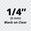 black on clear d1 label