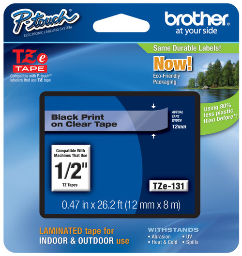 Brother 12MM BLACK ON CLEAR TZE TAPE M