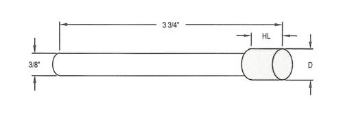 """D = .625"""" - HL = .375""""; 140/170 Grit"""