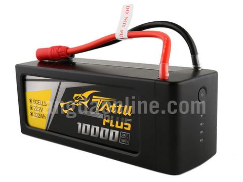Gens Tattu Plus 10000mAh 22.2V 25C 6S1P Lipo Smart Battery Pack With AS150+XT150 Plug