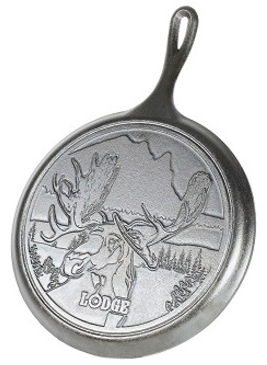 "10.5"" Moose Wildlife Stamped Cast Iron  Griddle"