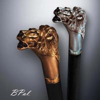 Custom made walking sticks Lion Head