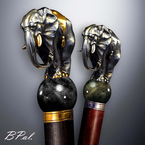 Handmade walking cane Elephant. Made in the USA