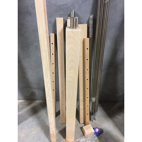 A complete package waiting for pickup to the jobsite. This customer requested a modern stair railing under a specified budget, and we exceeded expectations.