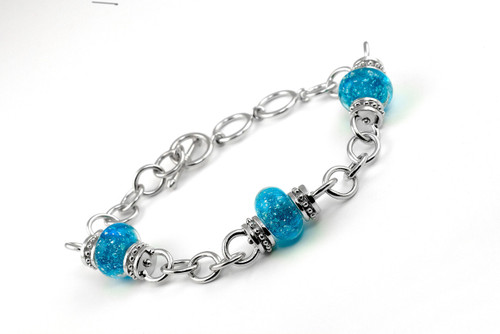 Delaware Beaches® Turquoise Sand Encased Bracelet with Adjustable Link Chain