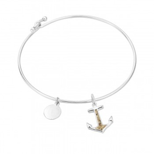 Dune Sand Sterling Silver Anchor Bangle - You Pick the Sand! Over 3,800 Sands Available