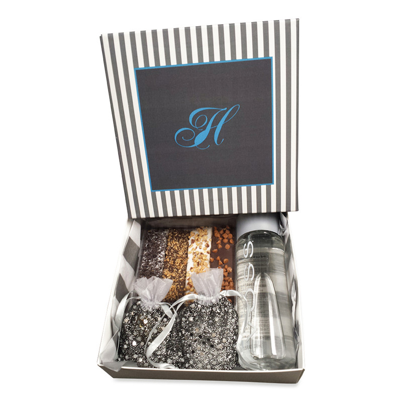 Grey & White Striped Monogrammed Guest Packages