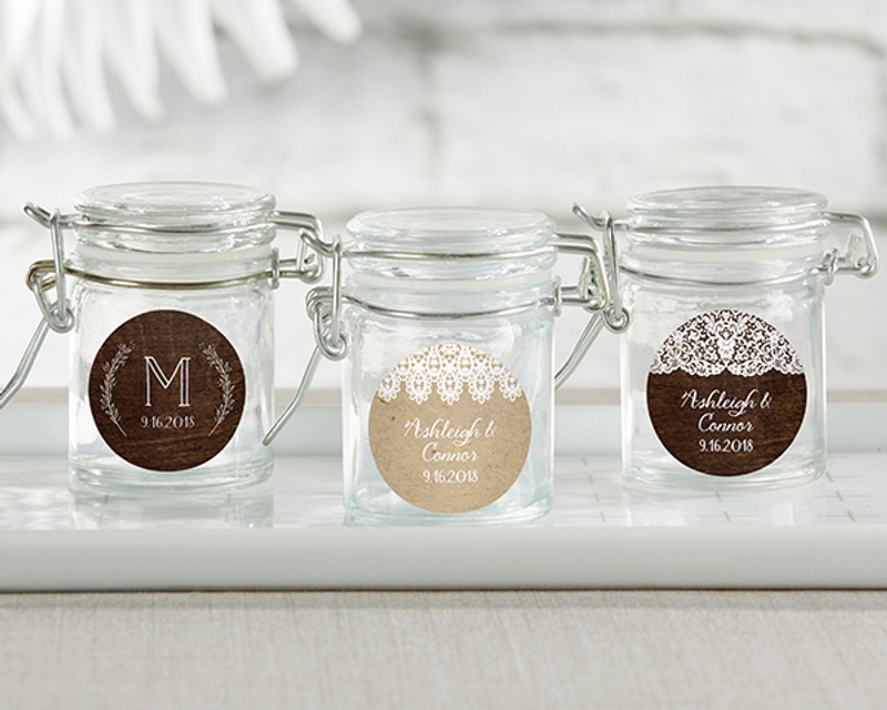 Personalized Glass Favor Jars - Rustic Charm Wedding (Set of 12)
