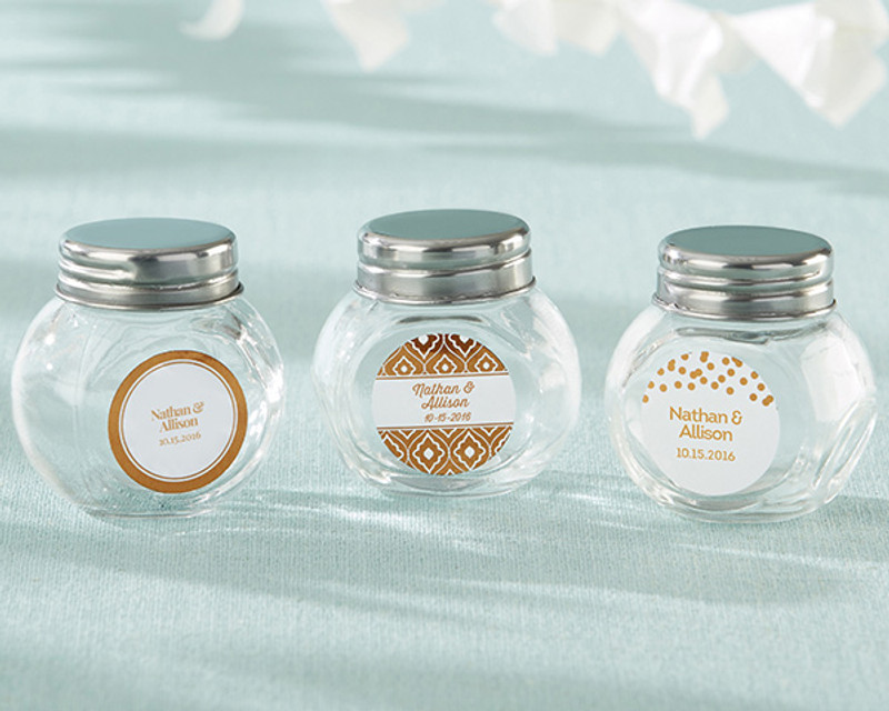 Personalized Mini Glass Favor Jar - Copper Foil (Set of 12)