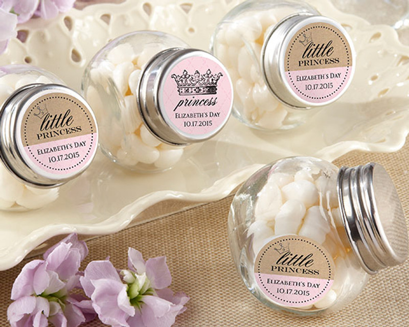 Personalized Mini Glass Favor Jars - Little Princess (Set of 12)
