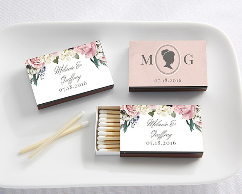Personalized Black Matchboxes - English Garden