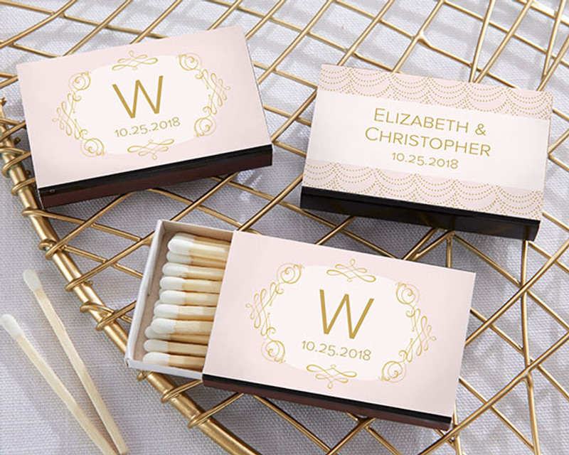 Personalized Black Matchboxes - Modern Romance