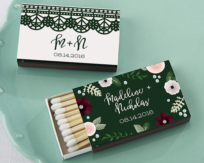Personalized Black Matchboxes - Romantic Garden