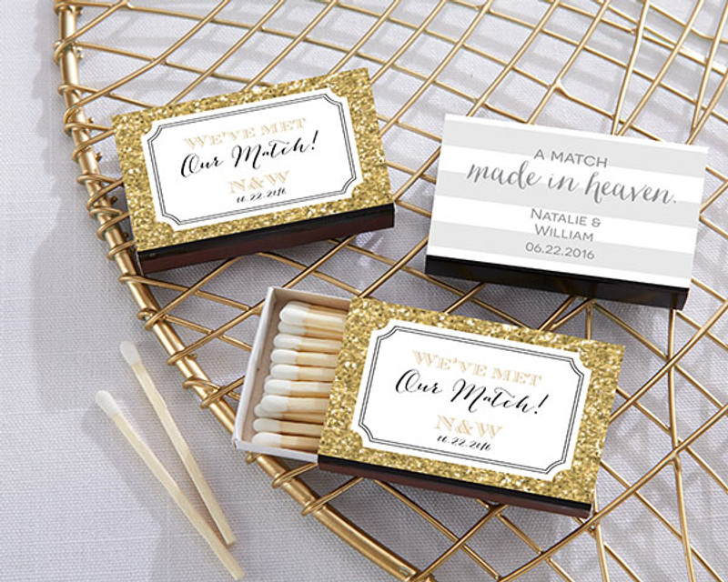 Personalized Black Matchboxes - Wedding