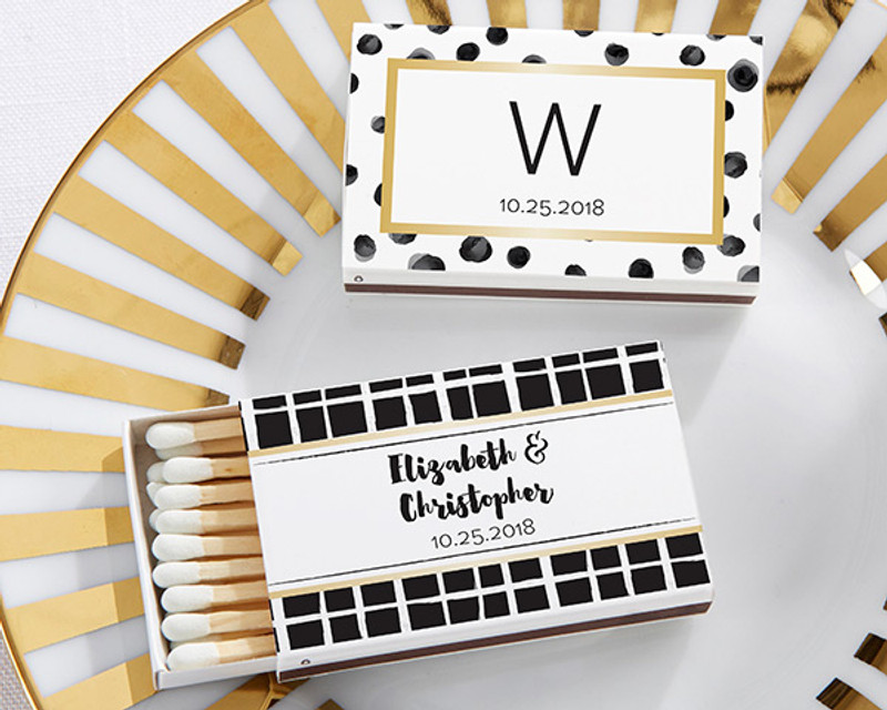 Personalized White Matchboxes - Modern Classic