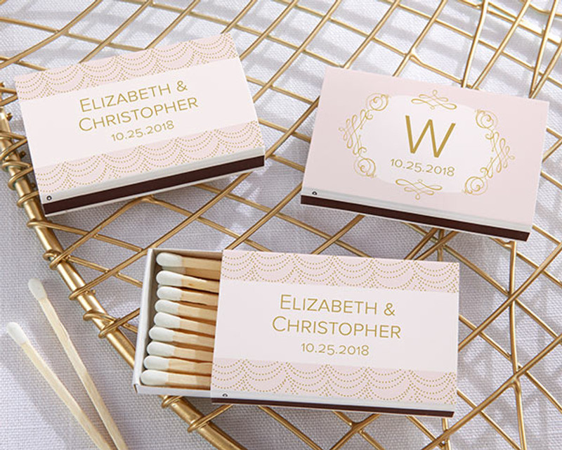 Personalized White Matchboxes - Modern Romance