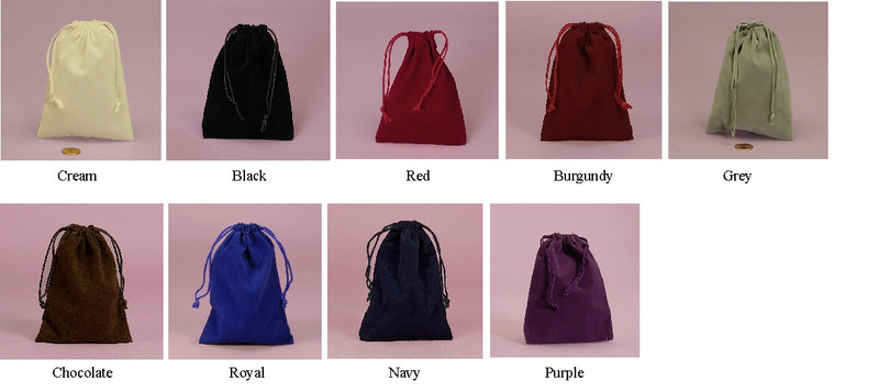 "Velour Bags 4"" x 5 1/2"", 9 Colors Available."