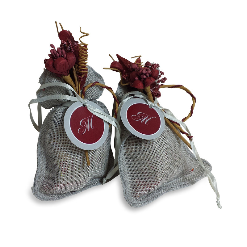 Grey Burlap Pouch 3x5 with Optional Tag & Flower