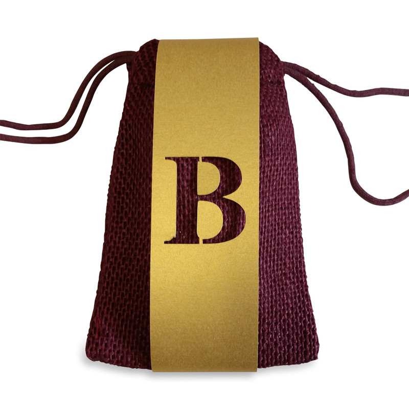 Burgundy Burlap Bag 3x5 with Monogrammed Lasercut Wrap