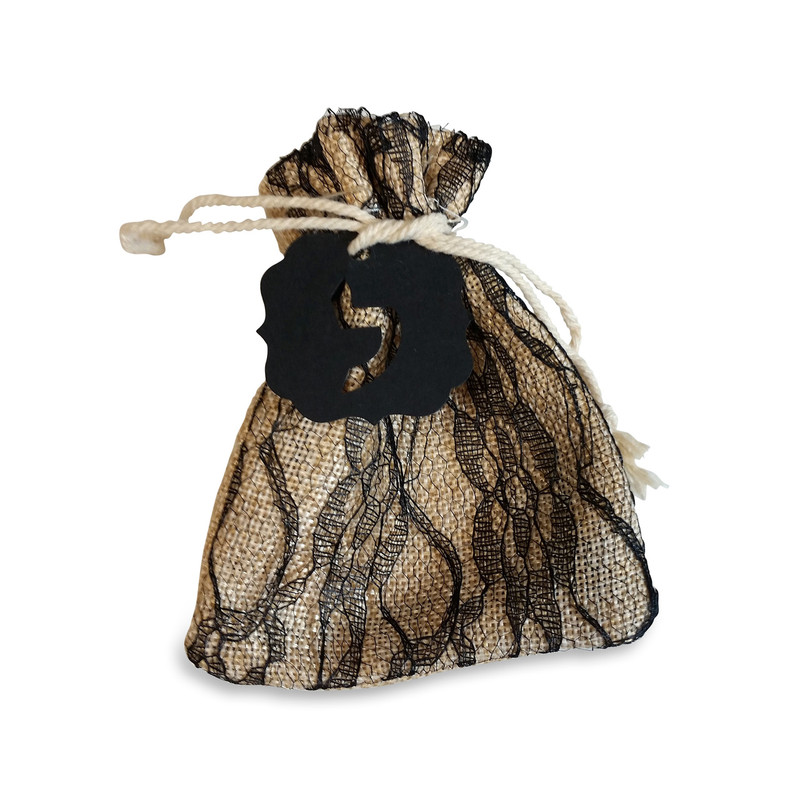 Black Lace Burlap Bag 4x5 with Optional Lasercut Tag