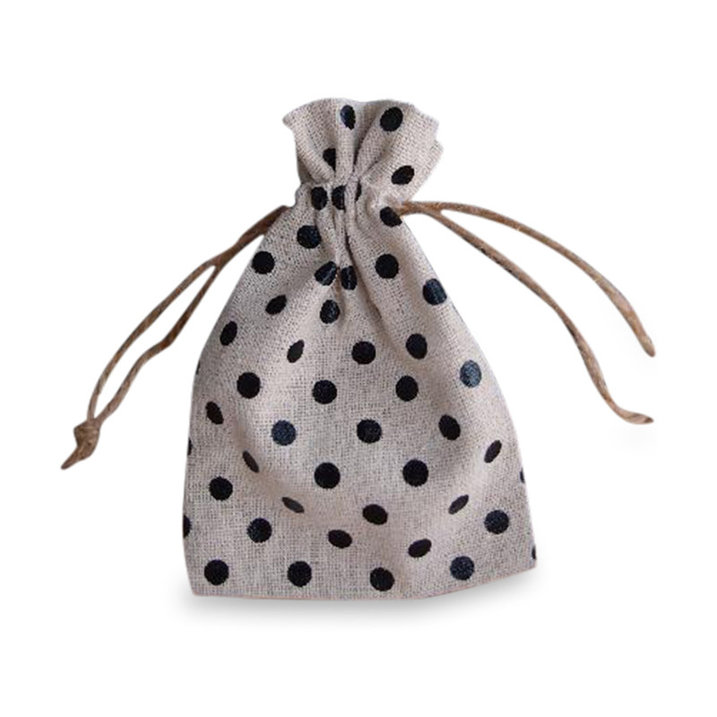 Burlap Bag with Black Dots 3.5 x 5