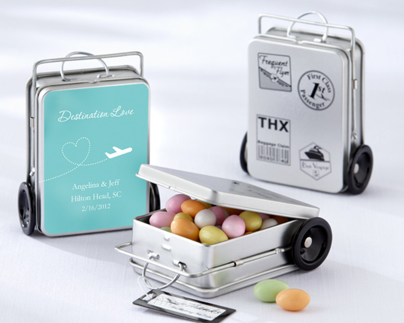"""MILES OF MEMORIES"" SUITCASE FAVOR TINS (SET OF 12) with personalized label"