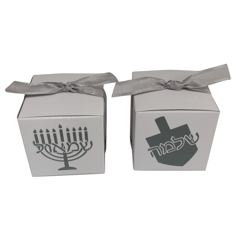 White & Silver Favor Box with Dreidel or Menorah transfer, 2x2 or 3x3.