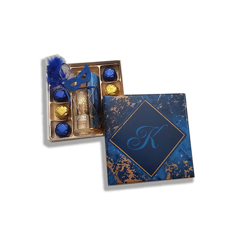 Blue Marble Design Monogrammed Purim Box