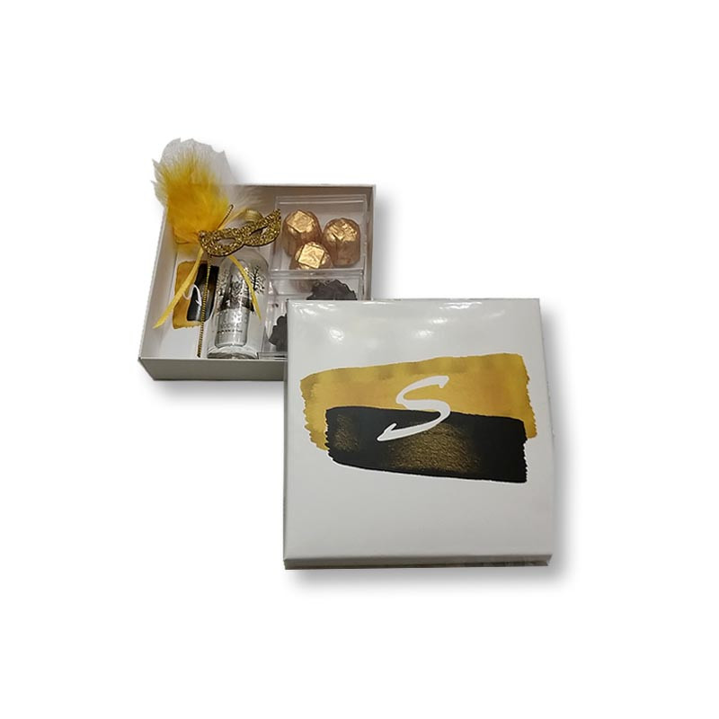 Black & Gold Brushstroke Design Monogrammed Purim Box