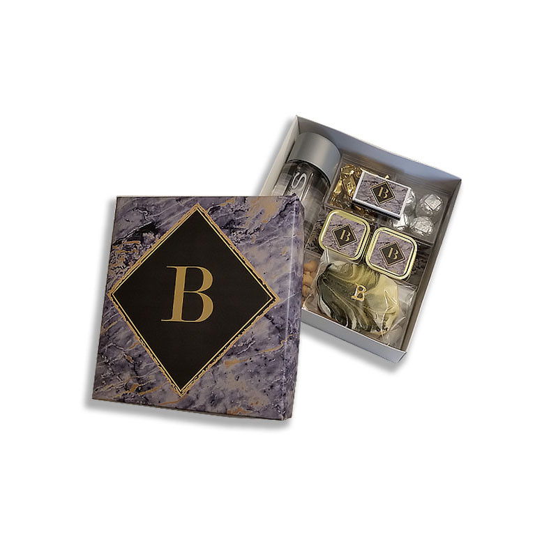 Grey Marble Design Monogrammed Welcome Box