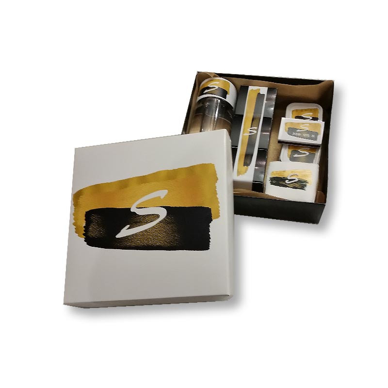 Black & Gold Brushstroke Design Monogrammed Welcome Box