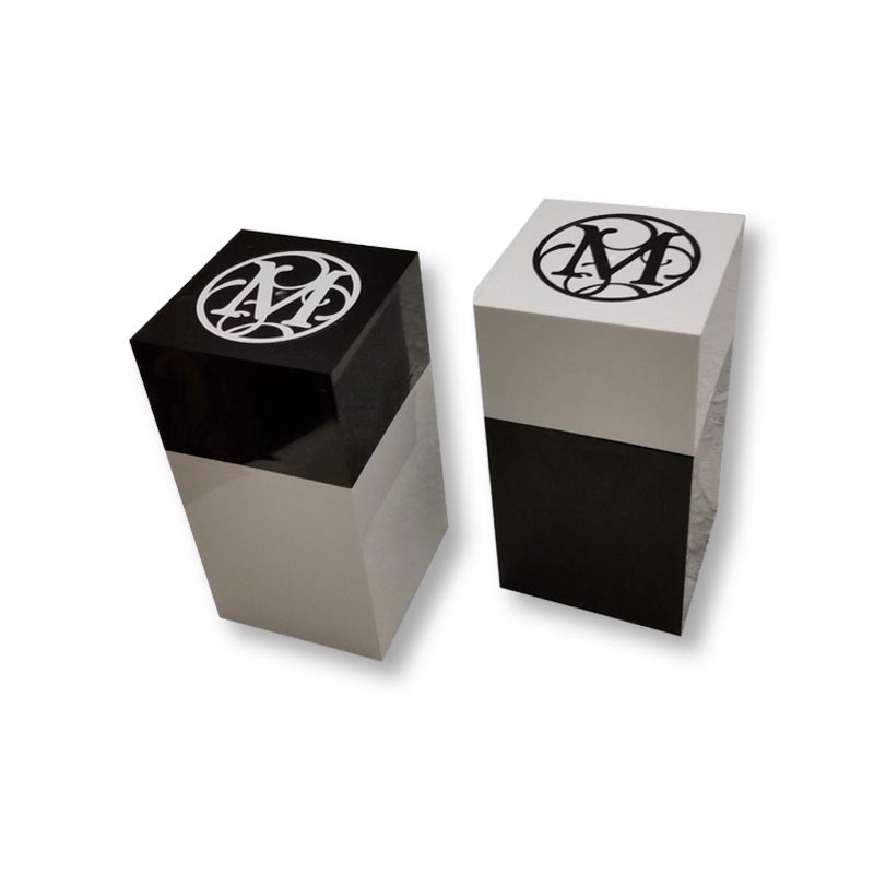 "Monogrammed 4"" x 7.25"" Lucite Box, Black or White 1"