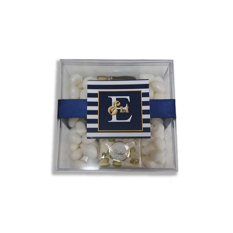 """3.75"""" Square Acrylic Box with tag and ribbon, with optional chocolate covered oreos."""