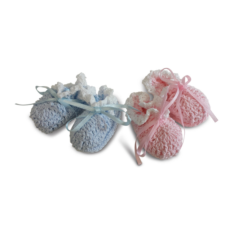 Knit Baby Bootie favor bag in blue or pink