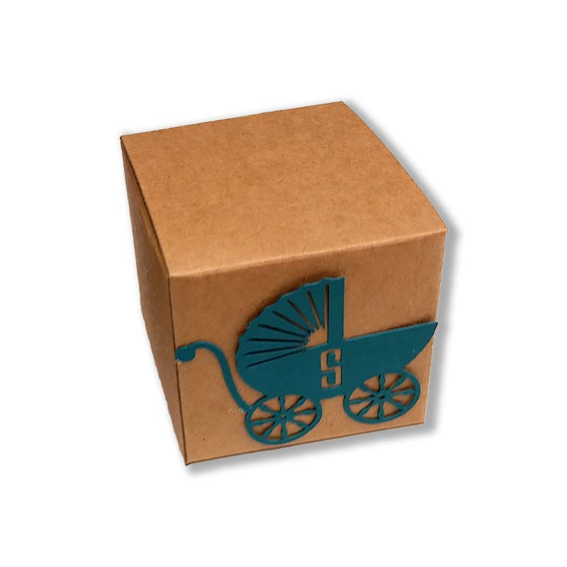 Kraft Box with Lasercut Baby Carriage (More colors available)