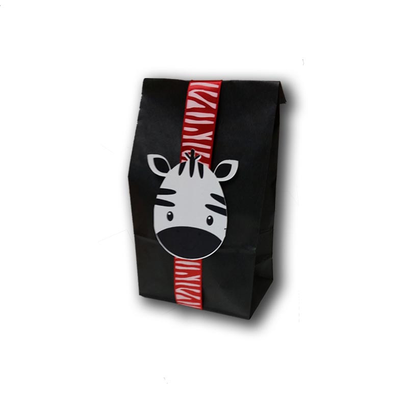 Zebra Upsherin Favor Bag with ribbon