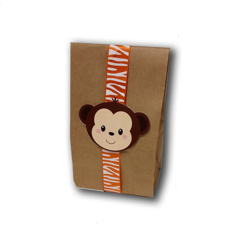 Monkey Upsherin Favor Bag with ribbon