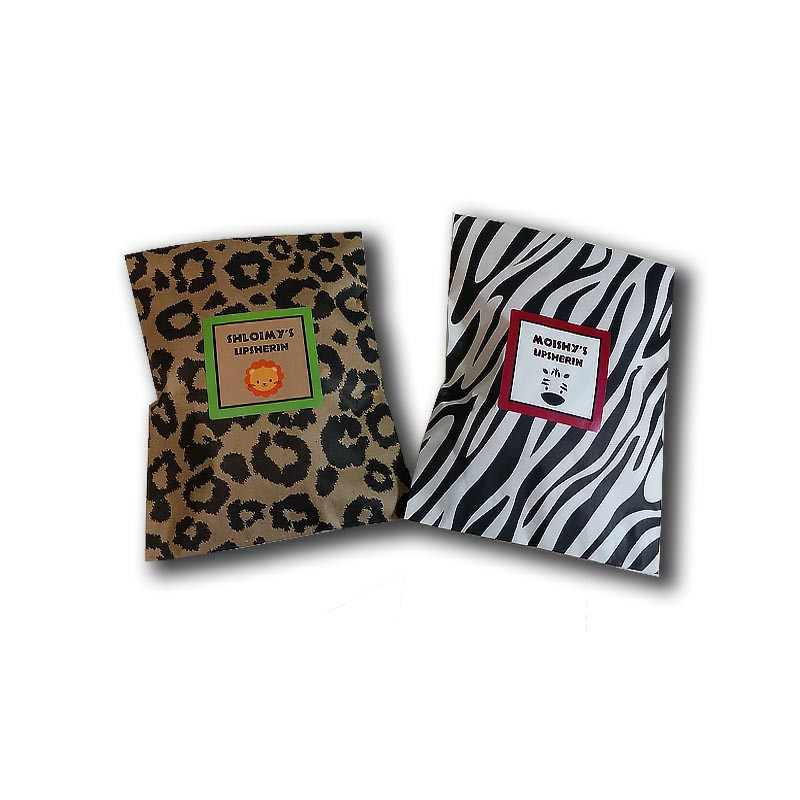 Leopard or Zebra Print Upsherin favor bag with personalized label