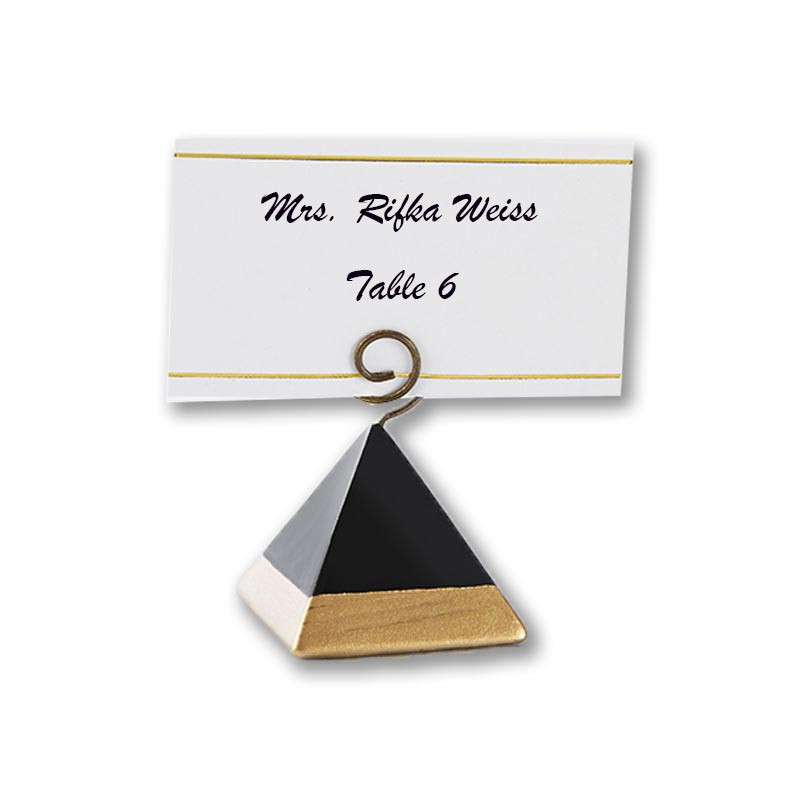 GOLD DIPPED PYRAMID PLACE CARD HOLDER (SET OF 6) (Custom placecards available upon request.)