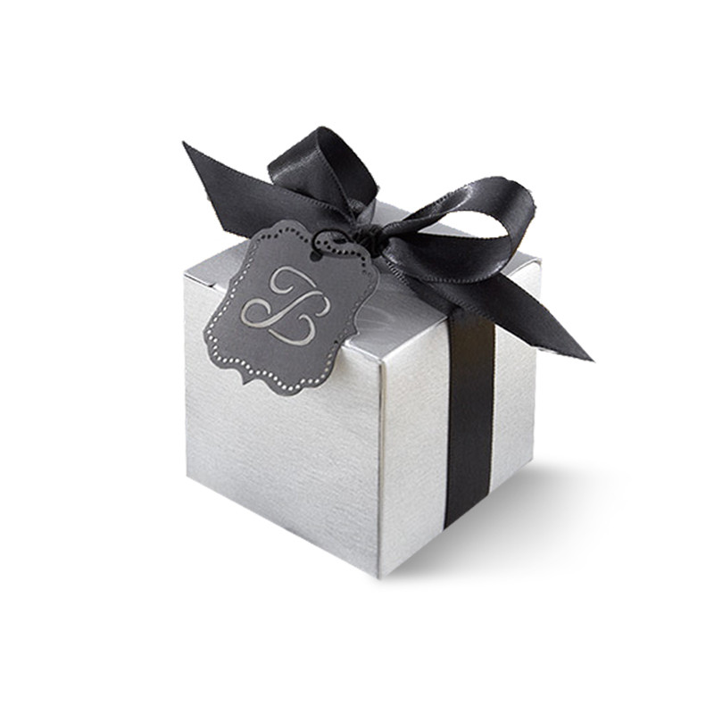 """""""Letter Perfect"""" Silver Favor Box Kit with Laser-Cut Monogrammed Tag (Set of 24)"""