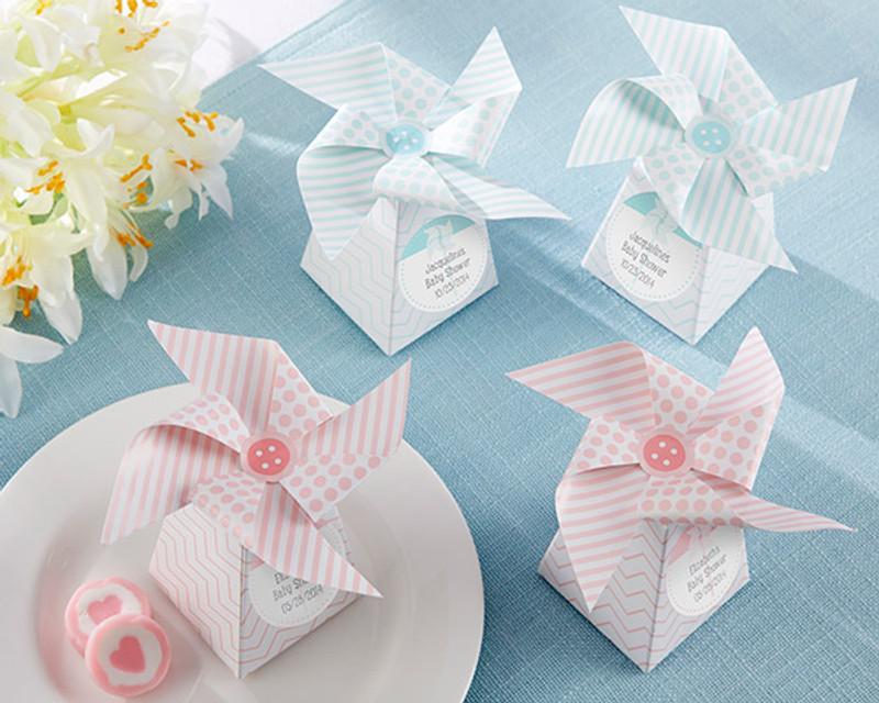 """""""Whimsical Moments"""" Pinwheel Favor Box-Pink or Blue (Set of 24) (Available Personalized)"""