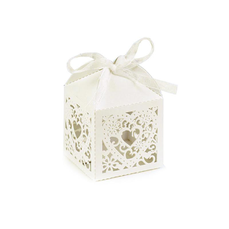 Ivory Square Decorative Favor Boxes (Set of 25)