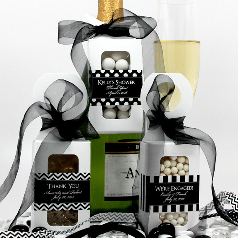 Personalized Bottle Hanger Favor Boxes Silhouette Collection (Custom Designs Available On Request)