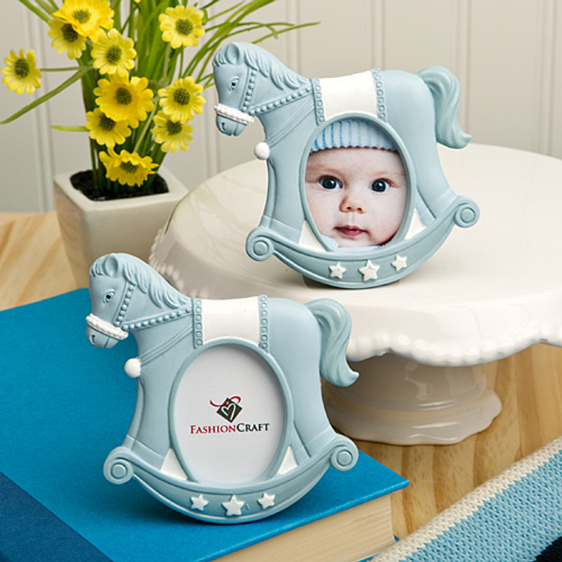 Blue rocking horse place card/photo frames