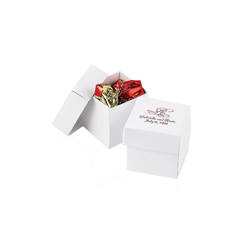 White Shimmer 2 piece Favor Boxes (Pack of 25)
