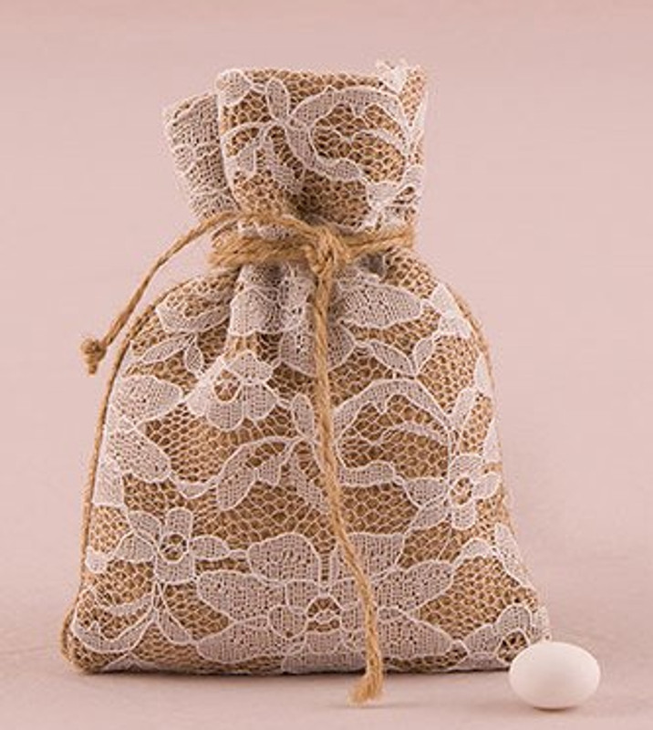 Rustic Chic Burlap And Lace Drawstring Favor Bag (Pack of 12)