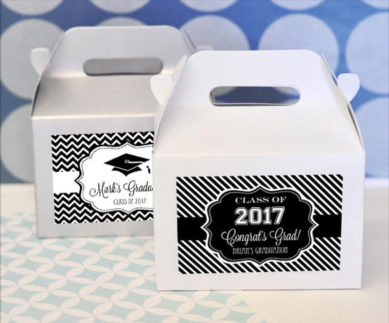 """""""Hats off to You"""" Graduation Mini Gable Boxes (set of 12)"""