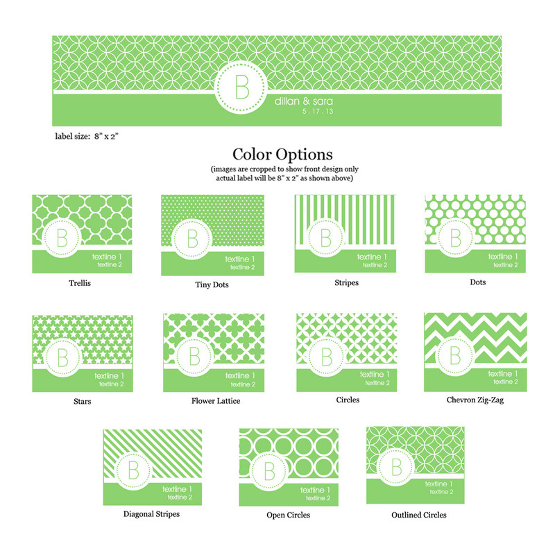 MOD Pattern Monogram Water Bottle Labels